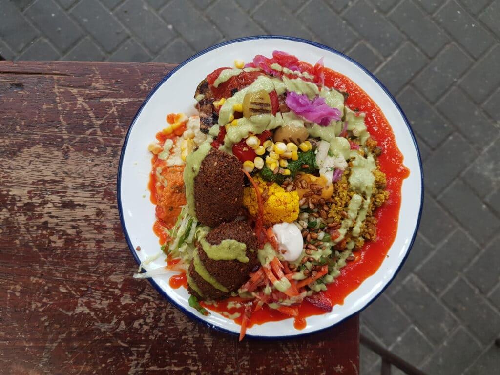 overhead shot of falafel salad
