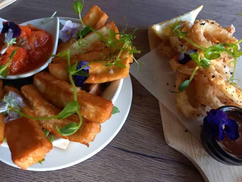 halloumi fries and fried squid