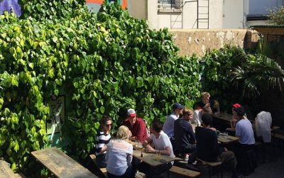 The beer garden with wooden tables and people drinking on a sunny
