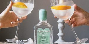 Toasting with a gin & tonic garnished with fresh orange and Brighton Gin bottle in the centre.