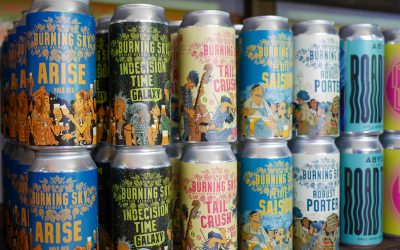 A selection of beers lined up from Curry Leaf Cafe