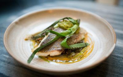 Trout with charred spring onion and sauce. Served on a stone coloured ceramic plate.