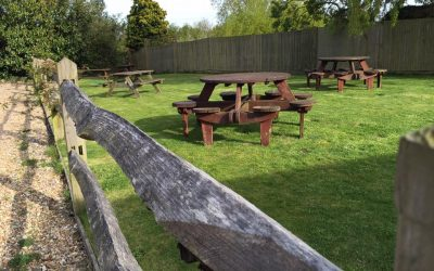 Country beer garden, grass lawn with round wooden tables and benches
