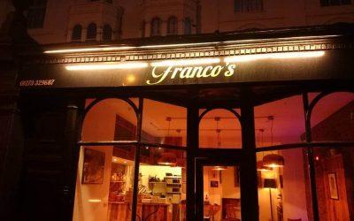 Outside Franco's restaurant at night