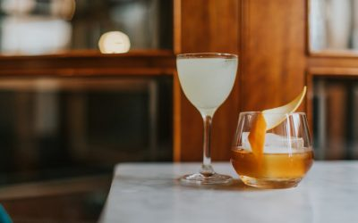 Two cocktails on the edge of a table with a wooden backdrop. One short glass with a fruit crisp garnish and one taller glass with a different drink.