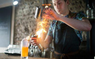 Flames at GungHo bar in Brighton