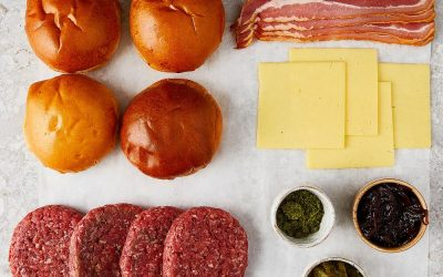 Ingredients to make a burger at home laid out