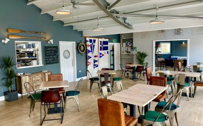 View inside The Watershed bar and kitchen. Nautically themed, spacious and full of natural light
