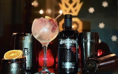 A large pink gin and tonic with orange slices and Brockmans gin