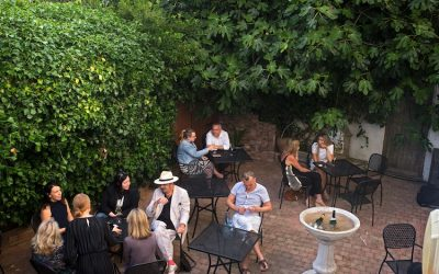 The courtyard garden surrounded by trees with people sitting enjoying drinks