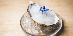 An oyster on a plate with crushed ice and an edible blue flower