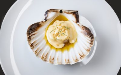 Scallop starter served in its shell on a white plate with a butter sauce.