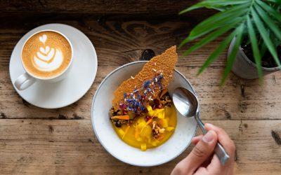Mango mousse and buckwheat granola of dreams.