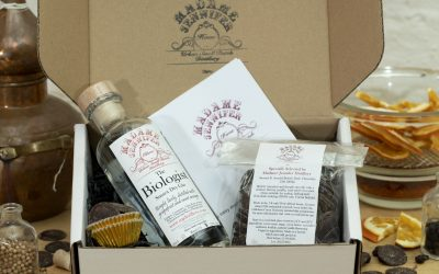 A gift box from Madame Jennifer including the products needed to make their finish at home gin truffles