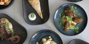 Overhead photograph of black and dark blue glazed ceramics displaying an array of delicious Greek food