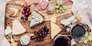 Cheese platter and wine - Petit Pois Brighton