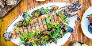 Fish and seafood restaurants in Brighton, Seabass at The Salt Room