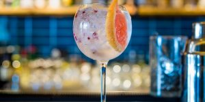 A large Gin & Tonic in a round glass with pink peppercorns and a slice of grapefruit.