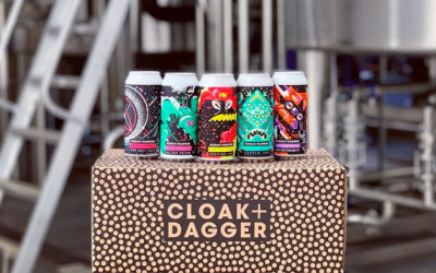 Colourful Cloak and Dagger Beer sat on their branded box