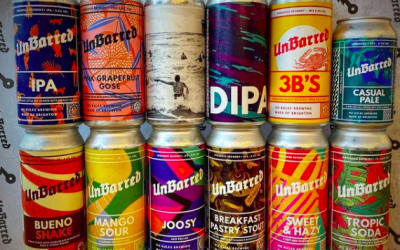 A selection of colourful labelled craft beer cans stacked up