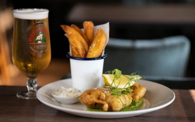 fish and chips with glass of cold beer