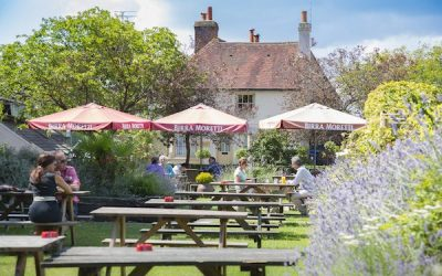 A country beer garden with wooden benches and parasols. A picturesque cottage in the background and lavender bushes.