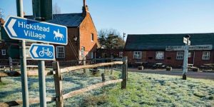 Outside country pub The Sportsman on a frosty Winter's day