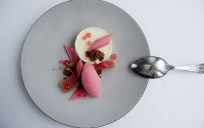 Dessert at The Wardroom served on a grey ceramic plate with a spoon. Rhubarb, sorbet and a panna cotta presented creatively on the plate.