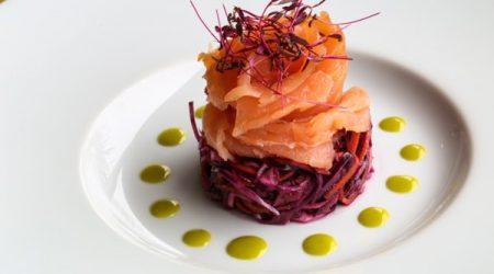 hotel restaurants, Salmon starter from the side