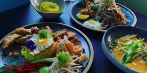 Thai brunch dishes, noodles, avocado, flavoured rice