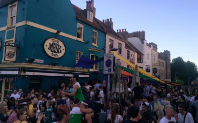Crowds at The Mash Tun at the start of a summer's evening