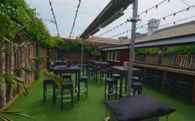 Roof garden at The Mesmerist with lights and seating.