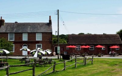 Traditional red-brick country pub with open grassy beer garden
