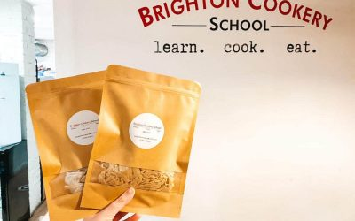 Bags of freshly made pasta to take home from Brighton Cookery School